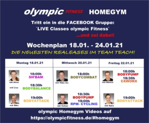 Live Classes olympic Wochenplan 3 Kurstage 03KW21