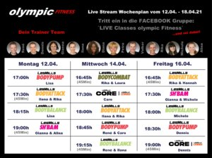 Live Classes olympic Wochenplan KW15-21