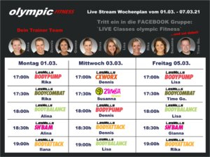 Live Classes olympic Wochenplan anthrazit KW9-21