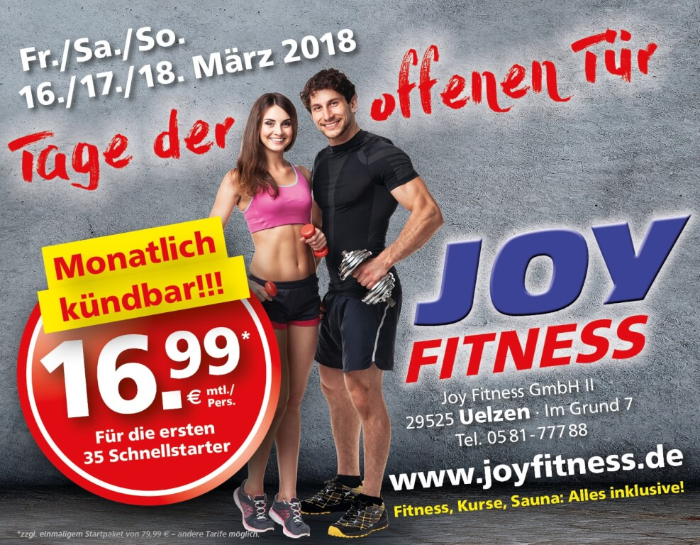 fitnessstudio in uelzen joy fitness. Black Bedroom Furniture Sets. Home Design Ideas